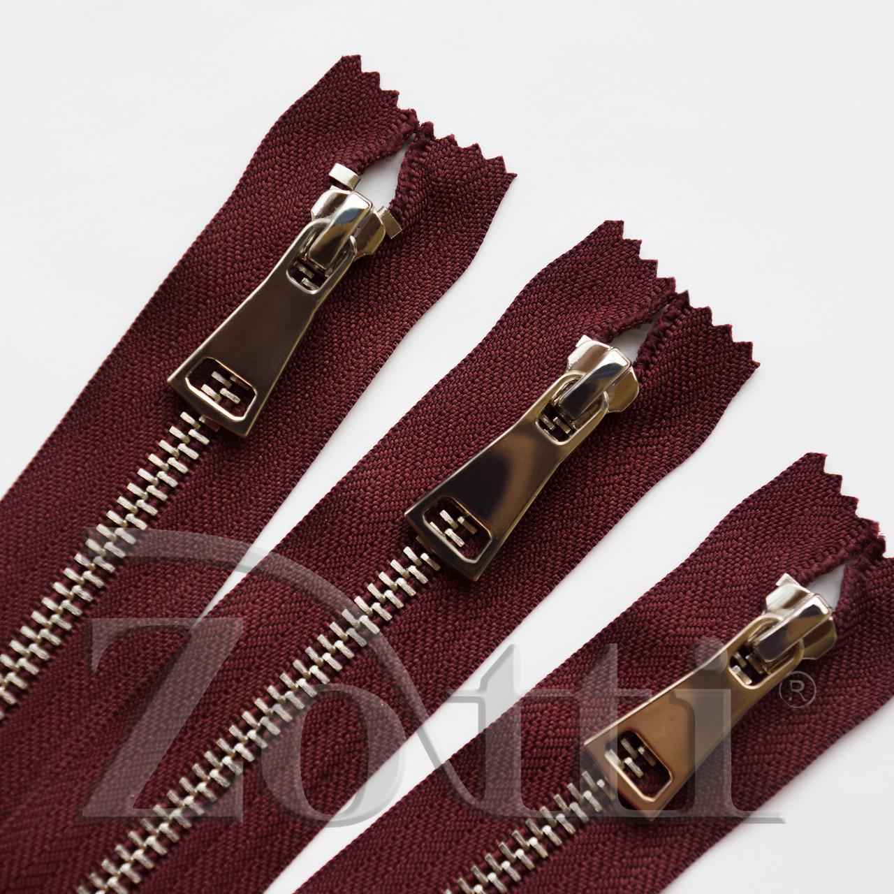Молния (змейка,застежка) металлическая №5, размерная, обувная, бордовая, с серебряным бегунком № 115 - 14 см