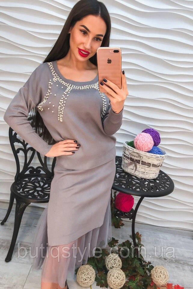 Женский комплект костюм юбка с органзой и свитер серый, черный, пудра