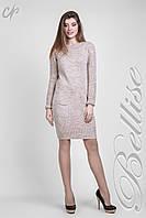Теплое вязаное платье по колено Бежевое, фото 1