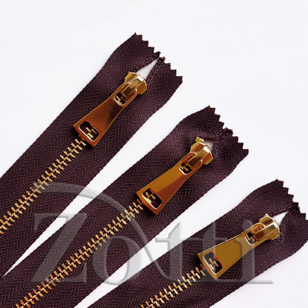 Молния (змейка,застежка) металлическая №5, размерная, обувная, коричневая, с золотым бегунком № 115 - 11 см