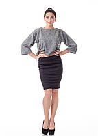 Женская замшевая юбка с драпировкой. Модель Ю092_черная замша., фото 1
