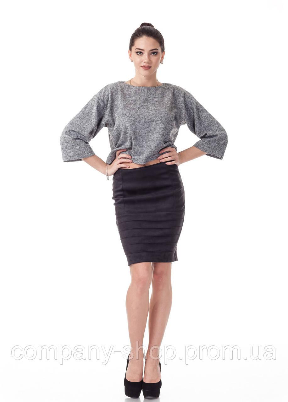 Женская замшевая юбка с драпировкой. Модель Ю092_черная замша.