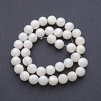 Бусины натуральный Перламутр молочно белый на нитке  d-9мм, L-40 см