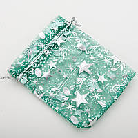 """Мешочек подарочный зеленый органза """"Серебристые звезды"""" 12х10см 100 шт."""