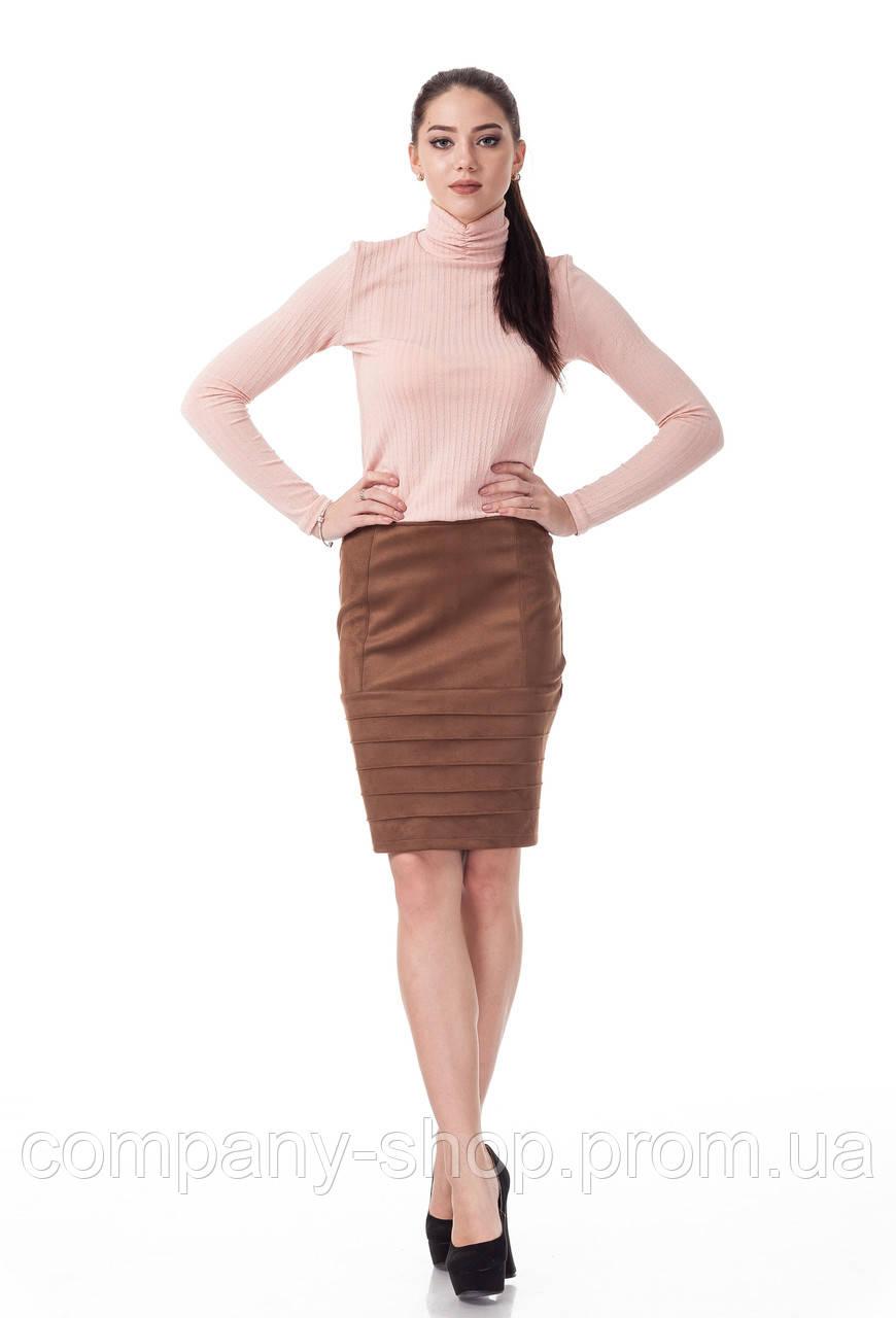 Женская замшевая юбка с драпировкой. Модель Ю092_коричневая замша.