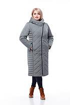 Длинное стеганное пальто большие размеры с капюшоном кролик или без меха размеры 48-60, фото 2
