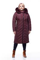 Длинное стеганое пальто большие размеры с капюшоном размеры 48-60