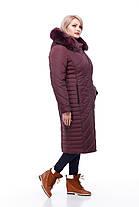 Длинное стеганное пальто большие размеры с капюшоном кролик или без меха размеры 48-60, фото 3