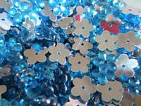 Цветок бирюзовый прозрачный с серебристым дном 12 мм, уп. 20 шт.