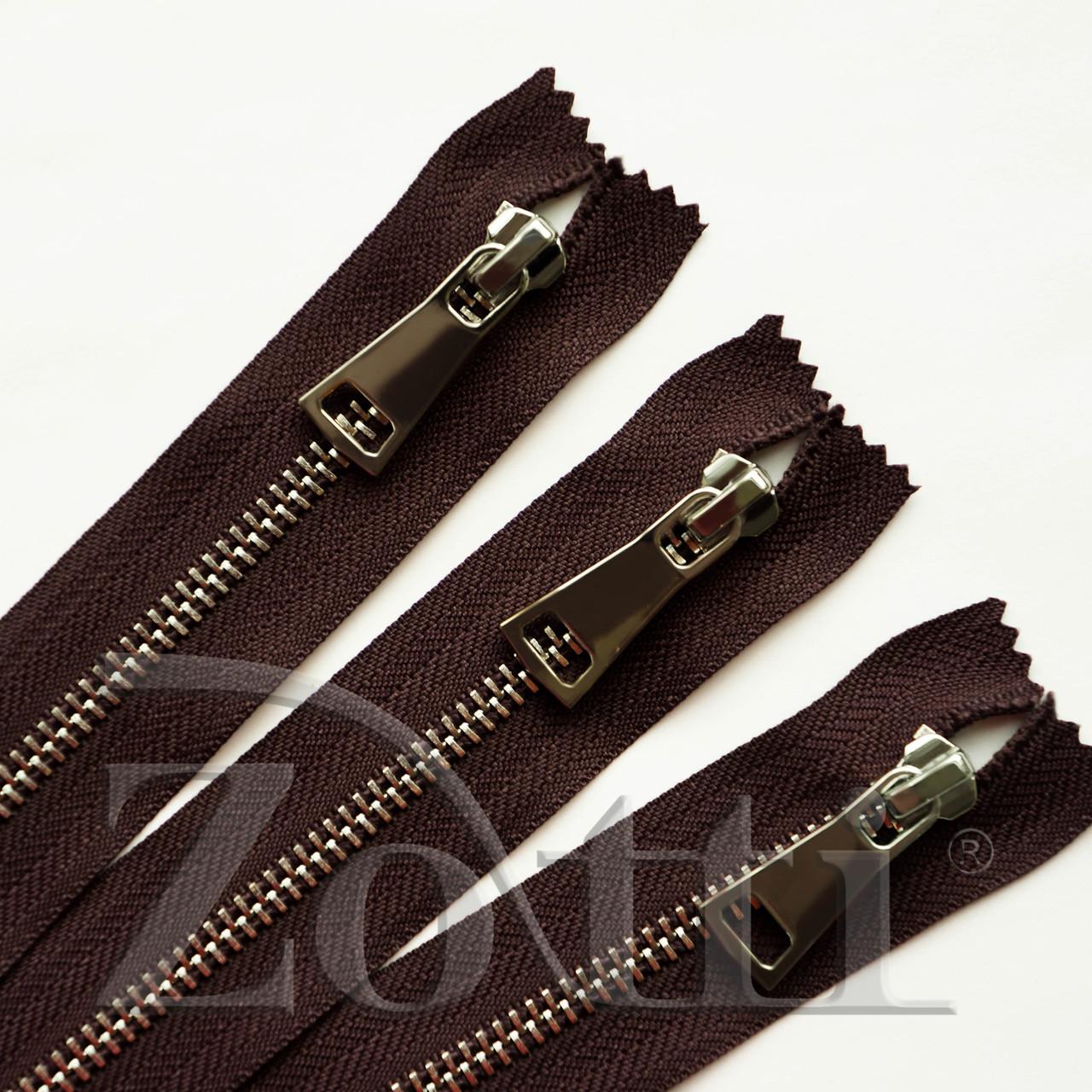 Молния (змейка,застежка) металлическая №5, размерная, обувная, коричневая, с серебряным бегунком № 115 - 11 см