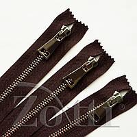 Молния (змейка,застежка) металлическая №5, размерная, обувная, коричневая, с серебряным бегунком № 115 - 12 см, фото 1