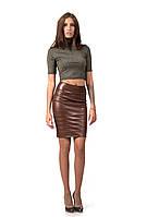 Женская кожаная юбка с драпировкой. Модель Ю092_коричневый кожа., фото 1