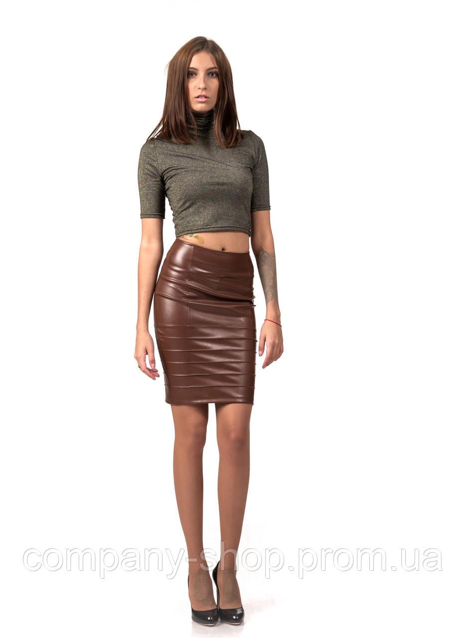 Женская кожаная юбка с драпировкой. Модель Ю092_коричневый кожа.