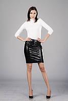 Женская кожаная юбка с драпировкой. Модель Ю090_черный кожа.