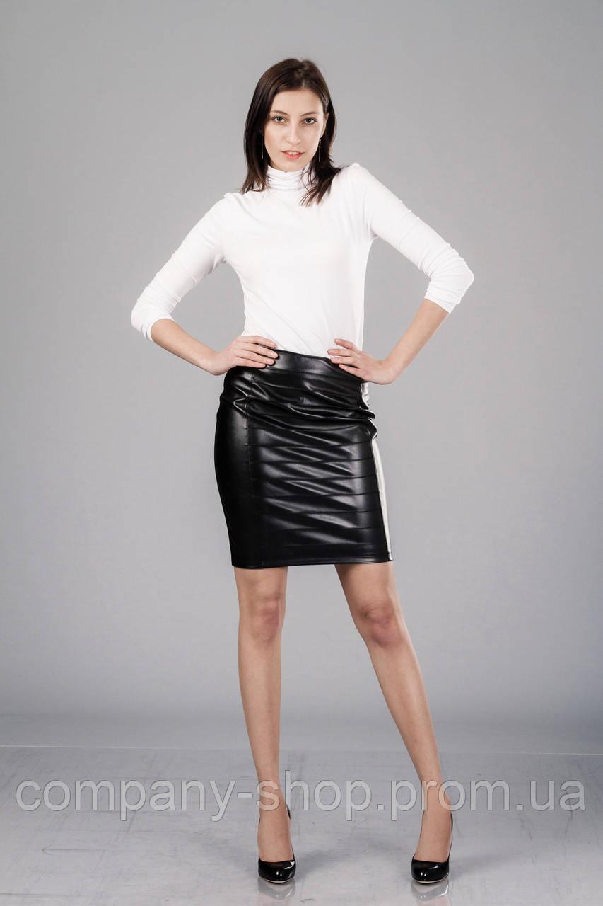 Женская кожаная юбка с драпировкой. Модель Ю090_черный кожа., фото 1