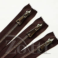 Молния (змейка,застежка) металлическая №5, размерная, обувная, коричневая, с серебряным бегунком № 115 - 25 см, фото 1