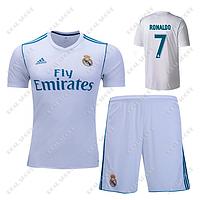 Детская футбольная форма ФК Реал Мадрид 2017-2018, Роналдо №7. Основная форма