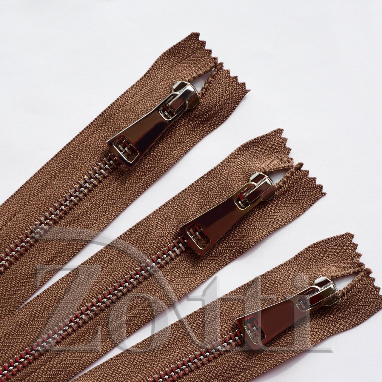 Молния (змейка,застежка) металлическая №5, размерная, обувная, коричневая, с серебряным бегунком № 115 - 10 см