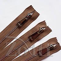 Молния (змейка,застежка) металлическая №5, размерная, обувная, коричневая, с серебряным бегунком № 115 - 10 см, фото 1