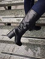 Зимние сапоги на устойчивом каблуке из натуральной кожи