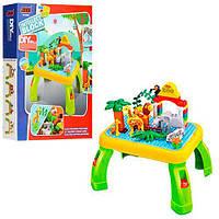 Набор столик + конструктор зоопарк, игровой столик, фигурки, животные, 55дет, в коробке