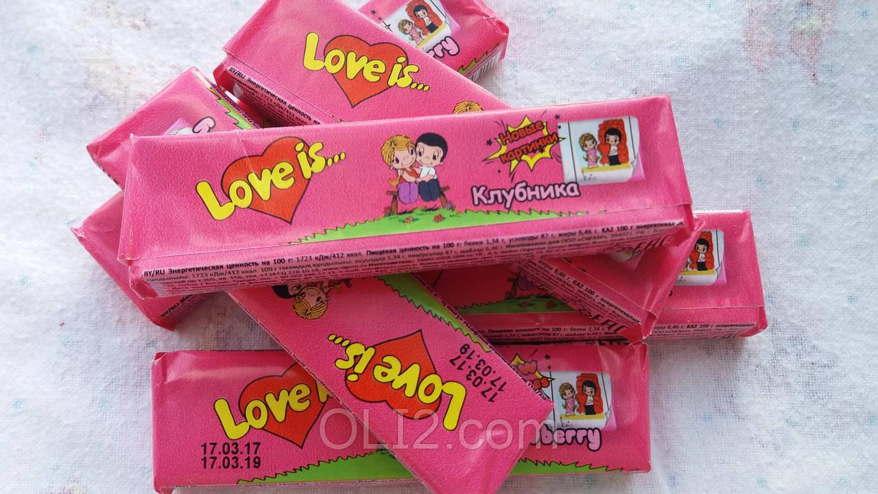 Жвачки Love is  Клубника - жевательная конфета лове ис