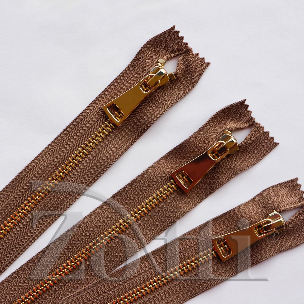 Молния (змейка,застежка) металлическая №5, размерная, обувная, коричневая, с золотым бегунком № 115 - 14 см