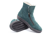 Зимние зеленые замшевые ботинки на молнии