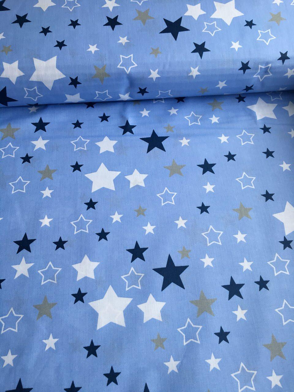 Хлопковая ткань польская звезды синие, белые большие и маленькие на голубом №359