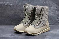 Ботинки женские Timberland Зима. Нубук Мех 100% Бежевые