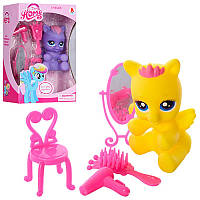 Лошадка 888-25 My little pony 7 см, стул, расческа, фен, зеркало