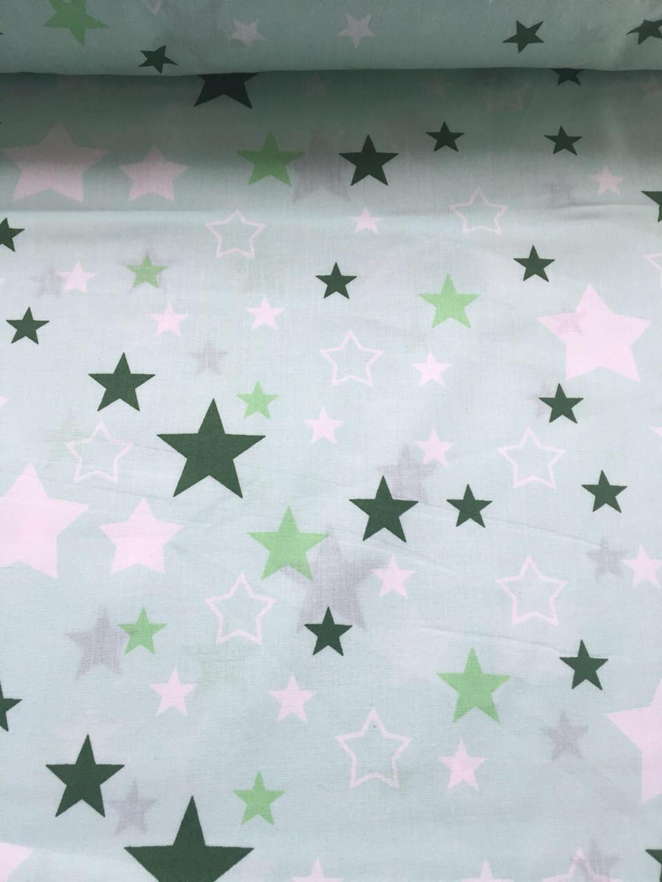 Хлопковая ткань польская звезды белые, зеленые, салатовые большие и маленькие на салатовом №357