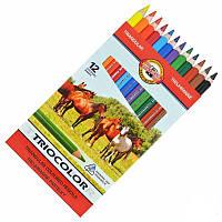 Карандаши цветные Triocolor Jumbo  Horses 24цв. 17593 3144