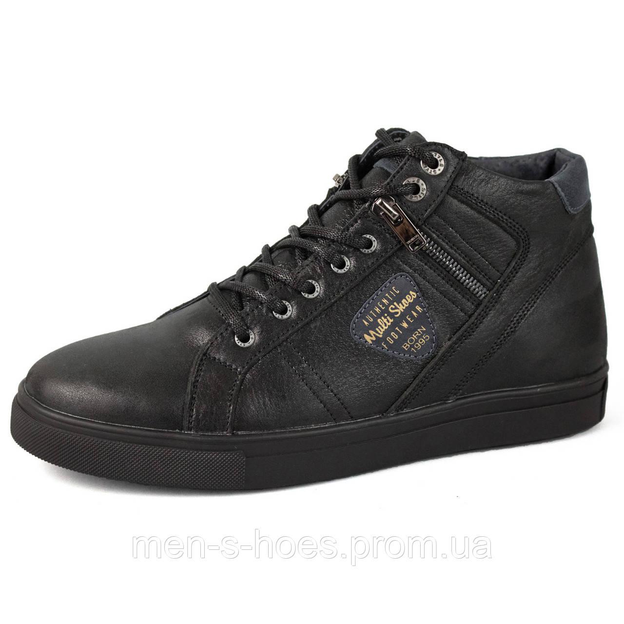 Зимние мужские  кожаные  ботинки Multi Shoes Black