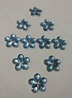 Цветок бледно-голубой прозрачный с серебристым дном 12 мм, уп. 20 шт., фото 1