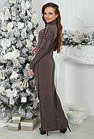 Трикотажное макси Платье в кофейном цвете