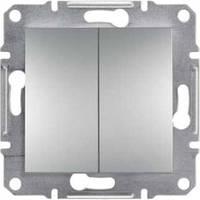 Выключатель двухклавишный самозажимной Schneider Electric Asfora алюминий (EPH0300161)