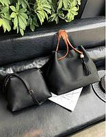 Женская сумка шоппер с кошельком и кисточкой