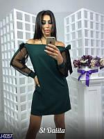 eefce96a93f Стильное зеленое прямое платье со спущенными рукавами-сеткой. Арт-12837