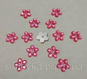 Цветок ярко-розовый прозрачный с серебристым дном 12 мм, уп. 20 шт.