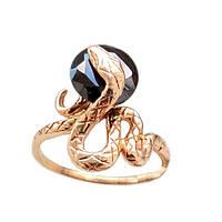 Золотое кольцо  змея с черным камнем 16.0 1-190
