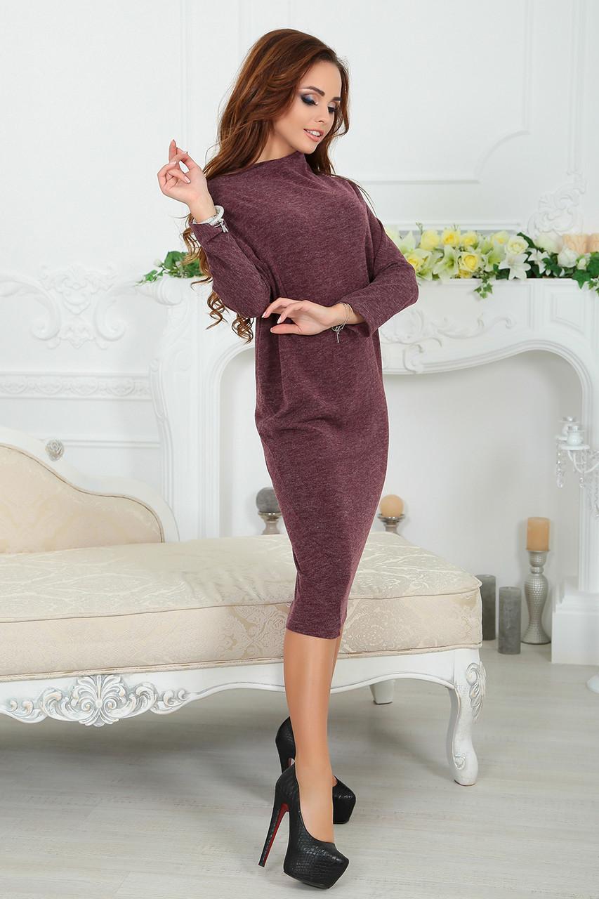 Платье Асимметрия трикотажное в бордовом цвете