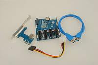 Коммутатор Плата расширения портов PCIe 1 to 4 PCI express 1X райзер сплитер