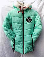 Куртка детская зима на меху девочка с капюшоном ментол