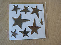 Наклейка s силиконовая Звезда набор 8шт хром серебристая на ленте 11х11см авто автомобильная