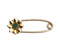 Золотая булавка Цветок зелёный