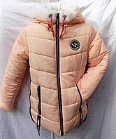 Куртка детская зима на меху девочка с капюшоном пудра