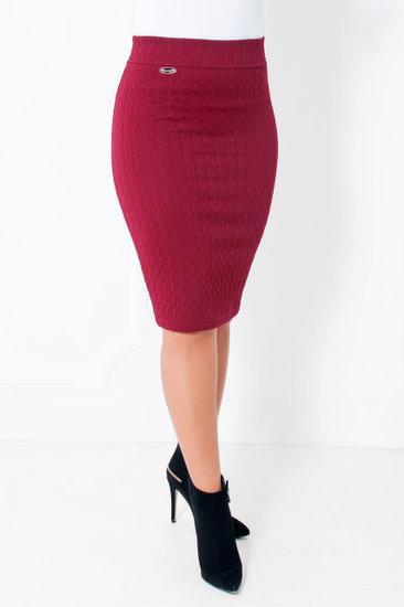 91cfc481c05 ... Стильная женская юбка-карандаш из плотного трикотажа с узором косичкой  44-54 чёрная