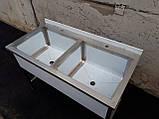 Ванна моечная двухсекционная из нержавеющей стали шириной 600 мм, фото 2