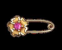 Золотая булавка Цветок Розовый